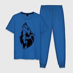 Пижама хлопковая мужская Воющий волк цвета синий — фото 1