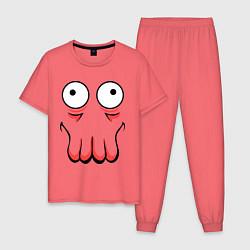 Пижама хлопковая мужская John Zoidberg Face цвета коралловый — фото 1