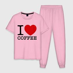 Пижама хлопковая мужская I love coffee цвета светло-розовый — фото 1