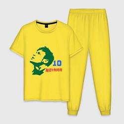 Пижама хлопковая мужская Neymar 10 цвета желтый — фото 1