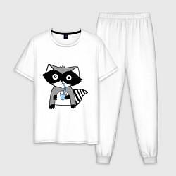 Пижама хлопковая мужская Енот-мальчик цвета белый — фото 1