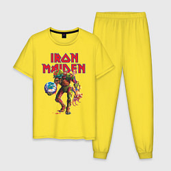 Пижама хлопковая мужская Iron Maiden цвета желтый — фото 1