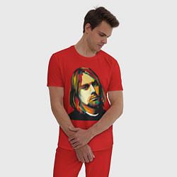 Пижама хлопковая мужская Курт Кобейн: фан-арт цвета красный — фото 2