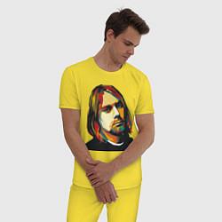Пижама хлопковая мужская Курт Кобейн: фан-арт цвета желтый — фото 2