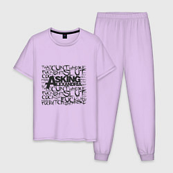 Пижама хлопковая мужская Asking Alexandria: Words цвета лаванда — фото 1