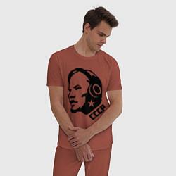 Пижама хлопковая мужская Ленин: музыка СССР цвета кирпичный — фото 2