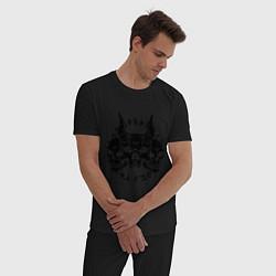 Пижама хлопковая мужская Демонический черепа цвета черный — фото 2