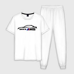 Пижама хлопковая мужская BMW M5 цвета белый — фото 1