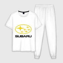 Пижама хлопковая мужская Subaru Logo цвета белый — фото 1