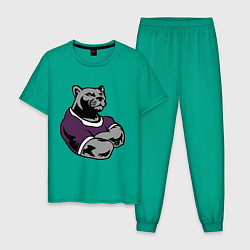 Пижама хлопковая мужская Сильная пантера цвета зеленый — фото 1