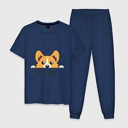 Пижама хлопковая мужская Got Corgi цвета тёмно-синий — фото 1