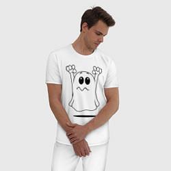 Пижама хлопковая мужская Привидение цвета белый — фото 2