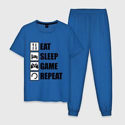 Пижама хлопковая мужская Repeat цвета синий — фото 1