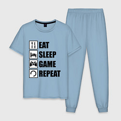 Пижама хлопковая мужская Repeat цвета мягкое небо — фото 1