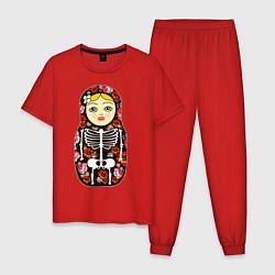 Пижама хлопковая мужская Матрёшка цвета красный — фото 1