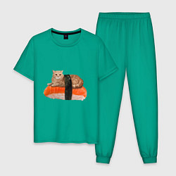 Пижама хлопковая мужская Котосуши цвета зеленый — фото 1
