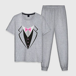 Пижама хлопковая мужская Смокинг цвета меланж — фото 1