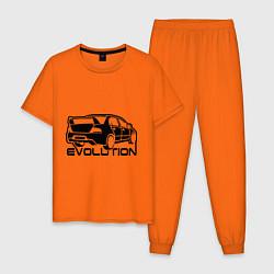 Пижама хлопковая мужская Evolution цвета оранжевый — фото 1