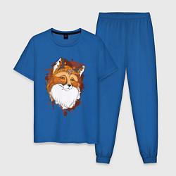 Пижама хлопковая мужская Рыжая лисица цвета синий — фото 1