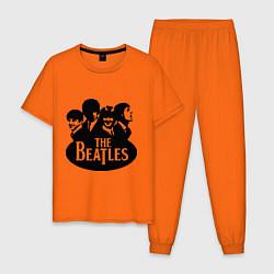 Пижама хлопковая мужская The Beatles Band цвета оранжевый — фото 1