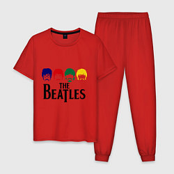 Пижама хлопковая мужская The Beatles Heads цвета красный — фото 1