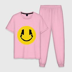 Пижама хлопковая мужская Smile Music цвета светло-розовый — фото 1
