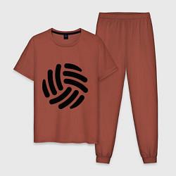 Пижама хлопковая мужская Волейбольный мячик цвета кирпичный — фото 1
