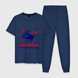 Пижама хлопковая мужская Любовь оленей цвета тёмно-синий — фото 1