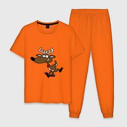 Пижама хлопковая мужская Весёлый Олень цвета оранжевый — фото 1