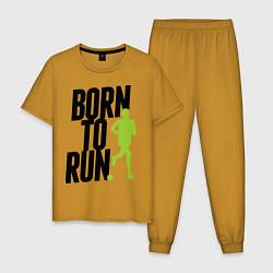 Пижама хлопковая мужская Рожден для бега цвета горчичный — фото 1