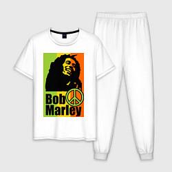 Пижама хлопковая мужская Bob Marley: Jamaica цвета белый — фото 1