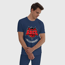 Пижама хлопковая мужская Hellraisers: Dark цвета тёмно-синий — фото 2