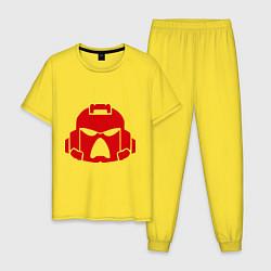 Пижама хлопковая мужская Шлем Космодесанта цвета желтый — фото 1