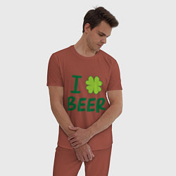 Пижама хлопковая мужская Love beer цвета кирпичный — фото 2