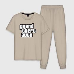 Пижама хлопковая мужская Grand Theft Auto цвета миндальный — фото 1