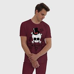 Пижама хлопковая мужская Череп жениха цвета меланж-бордовый — фото 2