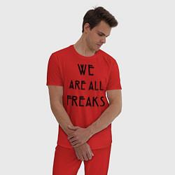 Пижама хлопковая мужская We all freaks цвета красный — фото 2