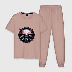 Пижама хлопковая мужская The Witcher 3 цвета пыльно-розовый — фото 1