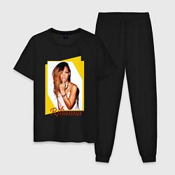 Пижама хлопковая мужская Rihanna цвета черный — фото 1
