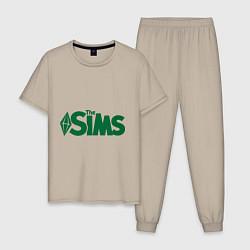 Пижама хлопковая мужская Sims цвета миндальный — фото 1