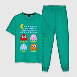 Пижама хлопковая мужская Pac-Man: Usual Suspects цвета зеленый — фото 1