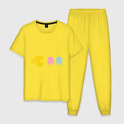 Пижама хлопковая мужская Pac-Man: Fast Eat цвета желтый — фото 1
