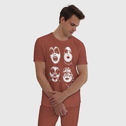 Пижама хлопковая мужская Kiss Faces цвета кирпичный — фото 2