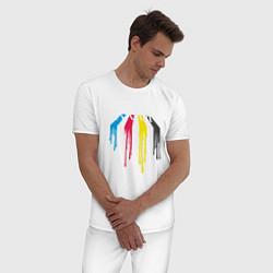 Пижама хлопковая мужская Abbey Road Colors цвета белый — фото 2