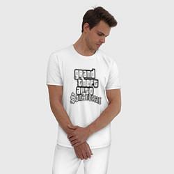 Пижама хлопковая мужская GTA San Andreas цвета белый — фото 2