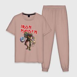 Пижама хлопковая мужская Iron Maiden: Zombie цвета пыльно-розовый — фото 1