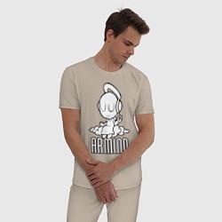 Пижама хлопковая мужская Armind цвета миндальный — фото 2