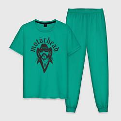 Пижама хлопковая мужская Motorhead Rocker цвета зеленый — фото 1