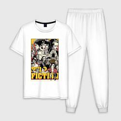 Пижама хлопковая мужская Pulp Fiction Stories цвета белый — фото 1