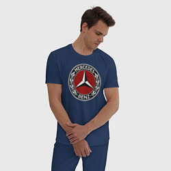 Пижама хлопковая мужская Mercedes-Benz цвета тёмно-синий — фото 2